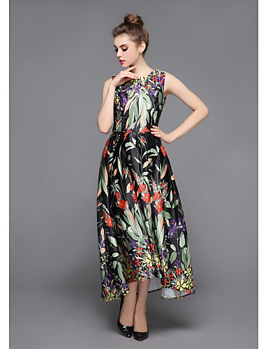 ZIYI Women's Daily Holiday Going out Street chic Sophisticated Sheath Swing Dress,Floral Print Round Neck Asymmetrical Sleeveless Polyester