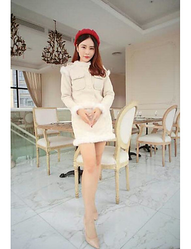 Women's Daily Casual Winter Sweater Dress Suits,Solid Round Neck Long Sleeve Cotton/nylon with a hint of stretch Micro-elastic