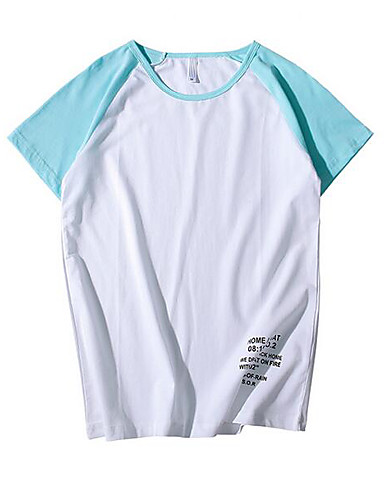 Polyester Kortermet,Rund hals T-skjorte Ensfarget Fargeblokk Bokstaver Sommer Enkel Fritid/hverdag Herre