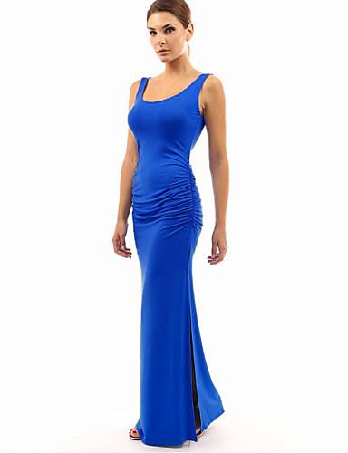 Mulheres Para Noite Tubinho Bainha Vestido - Franzido Clássico Fashion Fenda, Sólido Mulher Sensual Moderno Cintura Alta Longo Médio