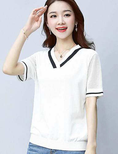 Women's Daily Regular Pullover,Solid Color Block V Neck Short Sleeves Cotton Summer Thin Micro-elastic