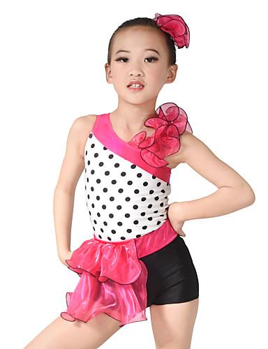 Ținute de Dans Copii Costume leotard Pentru femei Performanță Organza Lycra Volane Fără manșon Natural