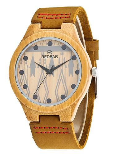 Homens Relógio Madeira Relógio de Moda Japanês Quartzo de madeira PU Couro Legitimo Banda Amuleto Elegant Cáqui