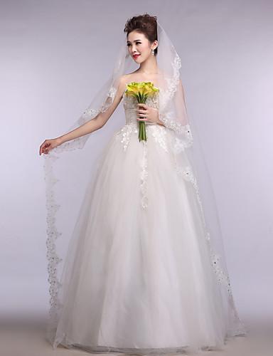 One-tier Lace Applique Edge Wedding Veil Chapel Veils With Applique Tulle