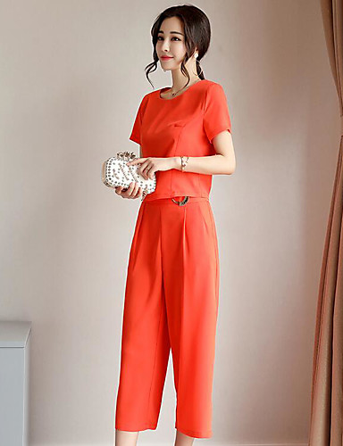 Women's Daily Contemporary Summer T-shirt Pant Suits,Solid Round Neck Short Sleeve