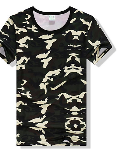 Men's Casual/Daily Simple T-shirt, Camouflage Round Neck Short Sleeves Cotton