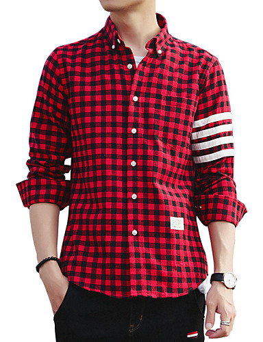 Men's Daily Going out Work Club Plus Size Vintage Casual Street chic Fall All Seasons Shirt,Solid Striped Check Shirt Collar Long Sleeves