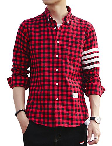 Bomull Skjorte Herre-Ensfarget Stripet Rutet Vintage Fritid Gatemote Klubb