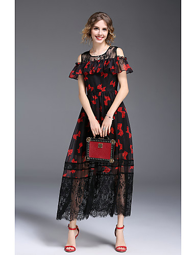 Women's Going out Vintage / Street chic Puff Sleeve Lace Loose Sheath Dress - Multi Color Lace / Bow / Print