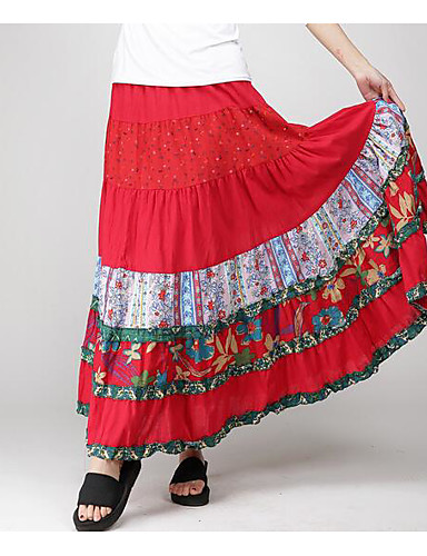 Women's Going out Swing Skirts - Print / Summer / Maxi