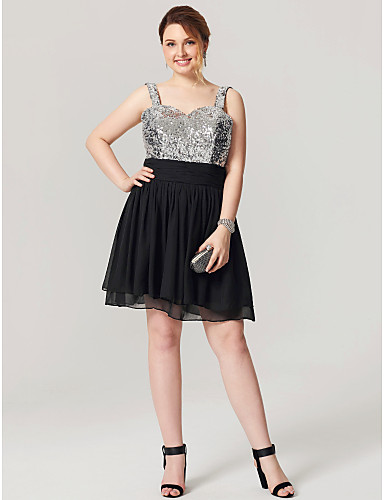 A-Line Fit & Flare Straps Knee Length Chiffon Sequined Cocktail Party Homecoming Dress with Ruching Pleats by Sarahbridal