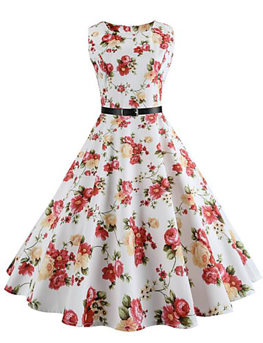 Women's Vintage Street chic Swing Dress - Floral White, Vintage Style