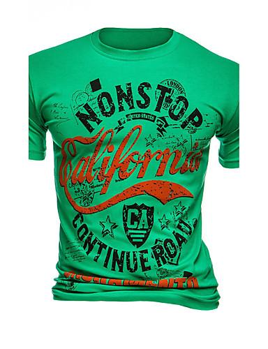Bomull Rund hals T-skjorte Herre - Ensfarget / Trykt mønster Aktiv / Gatemote / Punk & Gotisk Sport / Kortermet