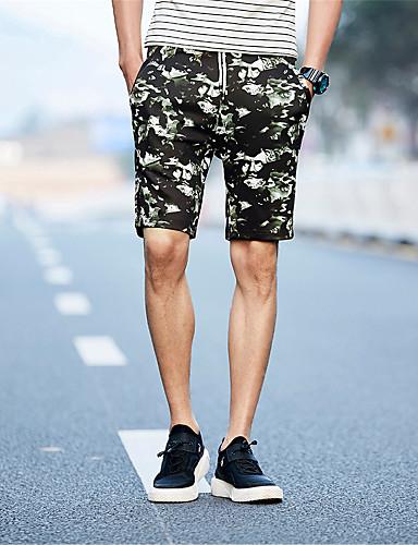 Miesten Pluskoko Yksinkertainen Joustamaton Suora Chinos housut Shortsit Housut,Keski vyötärö Polyesteri Spandex Tiili Armeijatyyli Kesä