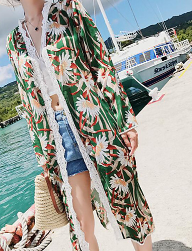 Women's Going out Vintage Summer Cloak/Capes,Print Shawl Lapel Long Sleeve Long Polyester