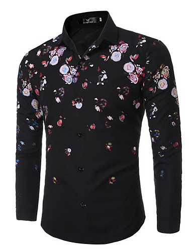 Men's Work Simple Cotton Shirt - Solid Colored / Floral / Long Sleeve