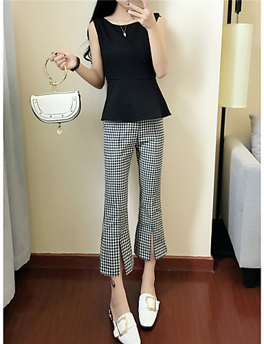 Women's Daily Casual Summer Tank Top Pant Suits,Plaid/Check V Neck Sleeveless Bow Others