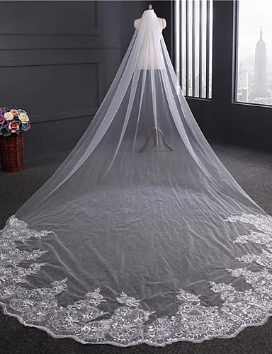 One-tier Lace Applique Edge Wedding Veil Chapel Veils 53 Sequin Appliques Embroidery Ribbon Tie Tulle