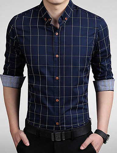 Men's Street chic Plus Size Cotton Shirt - Solid Colored / Striped Standing Collar / Long Sleeve