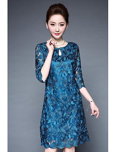 Mulheres Tamanhos Grandes Bainha Vestido Bordado Colarinho Chinês Altura dos Joelhos Azul
