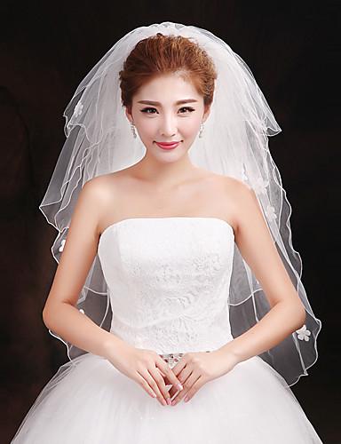 Three-tier Cut Edge Wedding Veil Elbow Veils 53 Sparkling Glitter Tulle