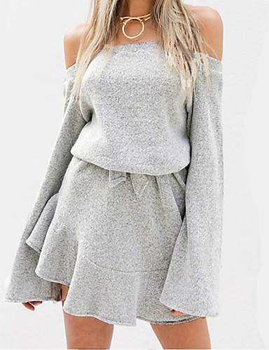 Women's Going out Flare Sleeve Faux Fur Loose / Sweater Dress - Solid Colored Ruffle Off Shoulder