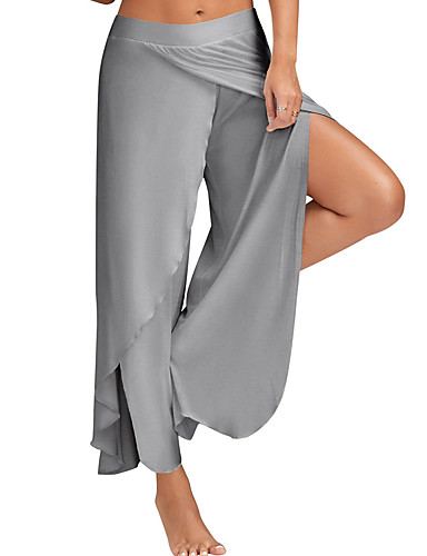 cheap Women's Pants-Women's Casual Plus Size Loose Wide Leg Pants - Solid Colored Split Light Blue