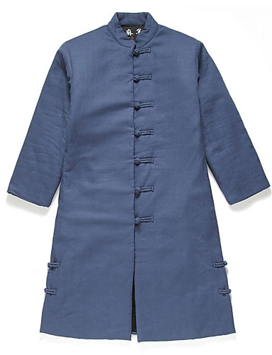 Men's Padded Coat,Chinoiserie Daily Solid-Cotton Cotton Long Sleeves