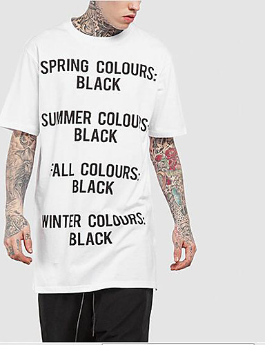 Bomull Lin Medium Kortermet,Rund hals T-skjorte Ensfarget Geometrisk Trykt mønster Sommer Høst Enkel Gatemote Aktiv Sport Ut på byen