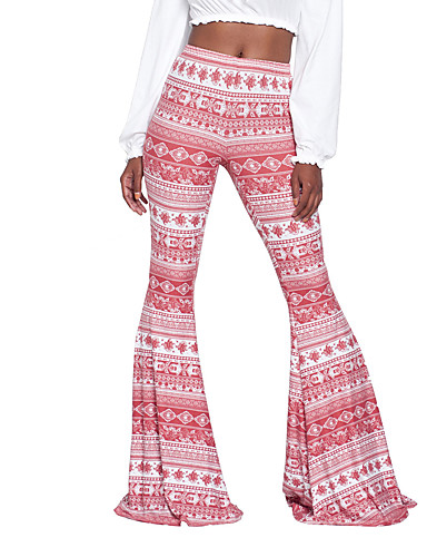 Women's Boho / Street chic Loose Bootcut / Chinos Pants Print High Rise / Spring / Summer / Fall / Going out