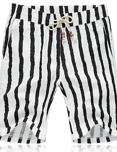 Herre Aktiv Store størrelser Bomull Lin Løstsittende Shorts Bukser Stripet