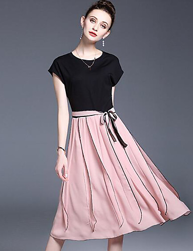Women's Casual/Daily Skater Dress,Solid Round Neck Midi Short Sleeves Polyester Summer Mid Rise Inelastic Medium