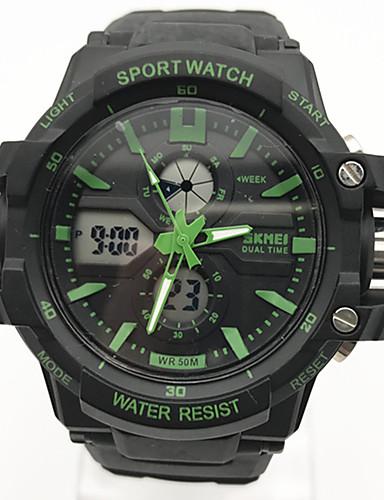 Homens Quartzo Relógio Esportivo Chinês Calendário Cronógrafo Mostrador Grande Noctilucente Cronômetro Dois Fusos Horários Plastic Banda