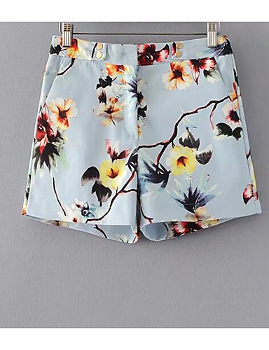 Women's High Rise Inelastic Shorts Pants,Street chic Straight Floral