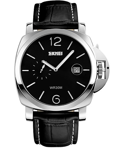 SKMEI Men's Fashion Watch / Wrist Watch Calendar / date / day / Water Resistant / Water Proof / Large Dial Genuine Leather Band Black / Two Years / Maxell626+2025