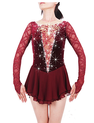 Figure Skating Dress Women's / Girls' Ice Skating Dress Claret-red Spandex, Lace High Elasticity Competition Skating Wear Handmade Jeweled / Rhinestone Long Sleeve Ice Skating / Figure Skating