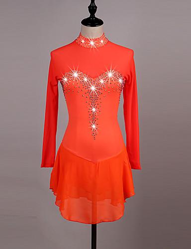 Figure Skating Dress Women's / Girls' Ice Skating Dress Orange / Dark Blue High Elasticity Competition Skating Wear Quick Dry, Anatomic Design, Handmade Classic Long Sleeve Ice Skating / Figure
