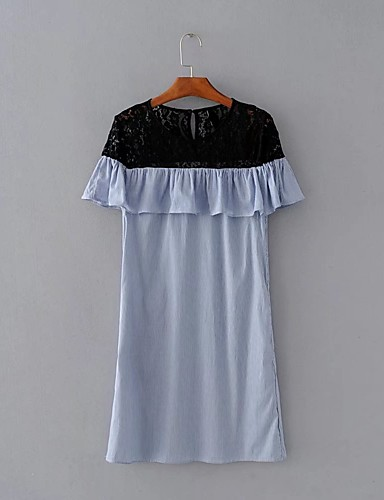 Women's Going out Daily Simple Street chic Loose Shift Lace Dress
