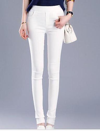 Women's Low Rise Micro-elastic Skinny Pants,Simple Skinny Solid
