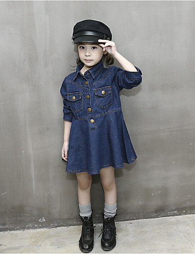 Girl's Solid Dress, Cotton Polyester Spring Fall Sleeveless Ruffle Blue