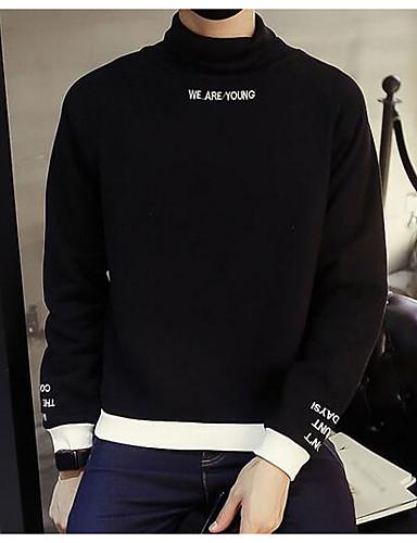 Men's Long Sleeve Sweatshirt - Solid Colored / Letter Turtleneck