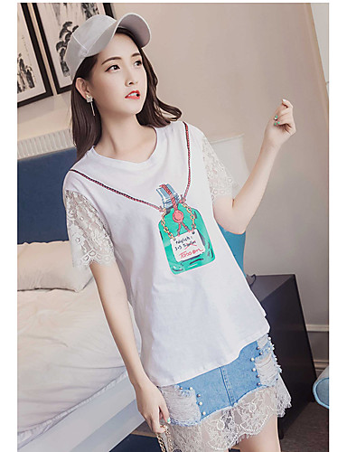 Women's Going out Casual Summer T-shirt Skirt Suits,Solid Floral Round Neck Half Sleeves Lace 20%Wool21%Polyester 59%Viscose strenchy