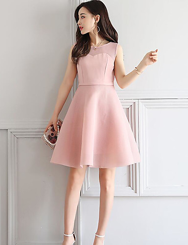 Women's Going out Cute A Line Dress,Solid Round Neck Above Knee Sleeveless Polyester Summer High Rise Inelastic Medium