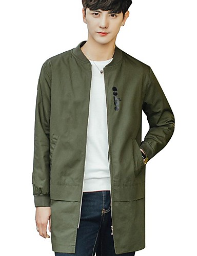 Men's Daily Simple Casual Spring Fall Trench Coat,Solid Round Neck Long Sleeve Long Cotton