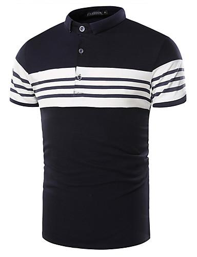 Bomull Kortermet,Skjortekrage T-skjorte Stripet Alle sesonger Sommer Enkel Ut på byen Fritid/hverdag Arbeid Herre