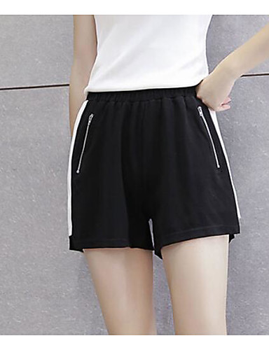 Women's Mid Rise strenchy Shorts Pants,Simple Wide Leg Striped