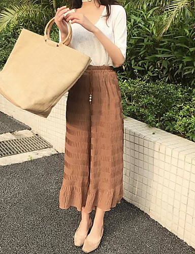Women's Mid Rise Inelastic Wide Leg Chinos Pants,Simple Solid Summer