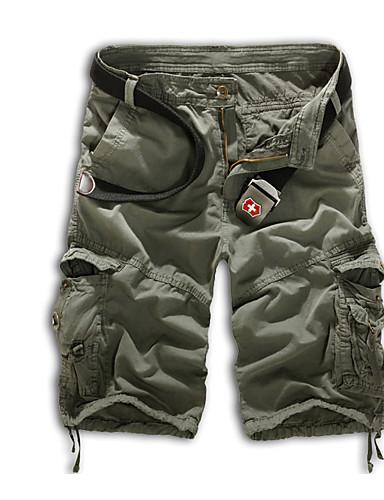hesapli Erkek Pantolonları ve Şortları-Erkek Askeri Büyük Bedenler Günlük Spor Tatil Düz / Şortlar Pantolon - Solid Yaz Yeşil Siyah / Beyaz Haki 34 36 38 / Çalışma / Hafta sonu