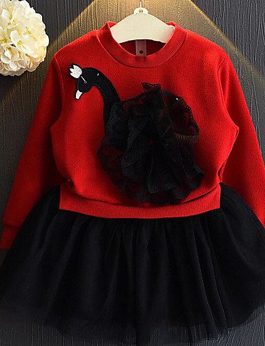Girl's Solid Colored Color Block Dress, Polyester Summer Long Sleeves Animal Print White Red