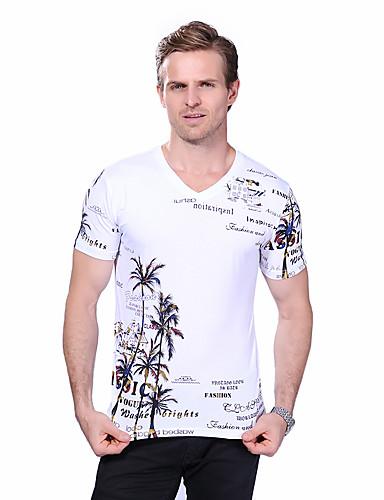 Homens Tamanhos Grandes Camiseta Temática Asiática Estampado Algodão Decote V